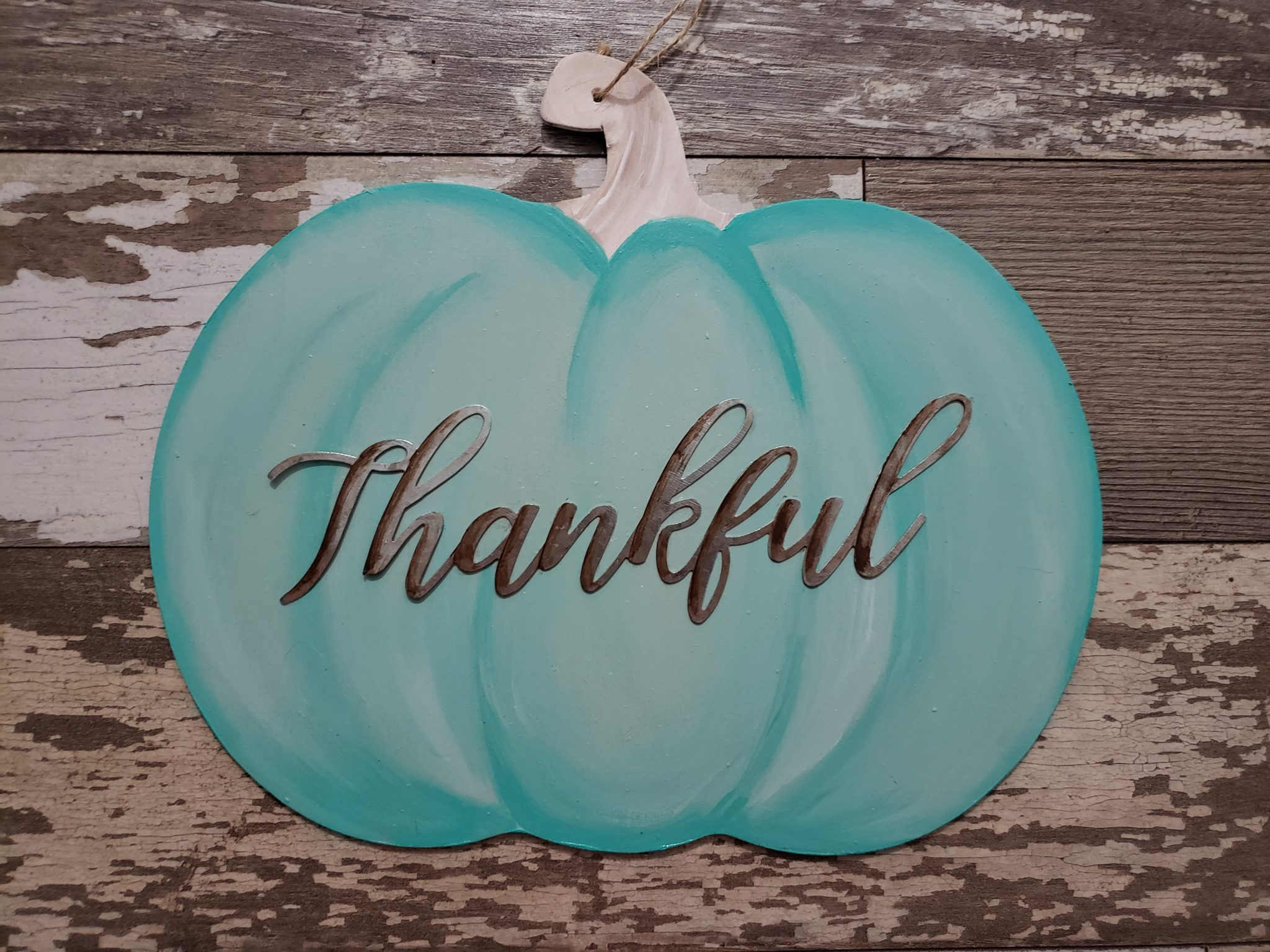 diy painted teal pumpkin sign with metal thankful saying